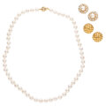 Estate Jewelry:Suites, Diamond, Cultured Pearl, Gold Jewelry Suite. ... (Total: 3 Items)