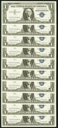 Small Size:Silver Certificates, Fr. 1621 $1 1957B Silver Certificates. Ten Examples. Crisp Uncirculated.. ... (Total: 10 notes)