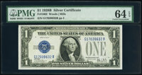 Fr. 1602 $1 1928B Silver Certificates. Two Consecutive Examples. PMG Choice Uncirculated 64 EPQ. ... (Total: 2 notes)