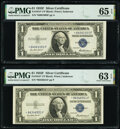 Fr. 1615* $1 1935F Silver Certificate Stars. Three Examples. PMG Graded Choice Uncirculated 63 EPQ-Gem Uncirculated 65 E...