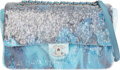"""Luxury Accessories:Bags, Chanel Runway Blue Sequin Waterfall Flap Bag with Silver Hardware . Condition: 1. 12"""" Width x 8"""" Height x 3.5"""" Depth..."""