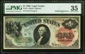 Error Notes:Large Size Errors, Gutter Fold Error on Face at Right Fr. 18 $1 1869 Legal Tender PMG Choice Very Fine 35.. ...