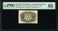 Fractional Currency:Second Issue, Milton 2E25R.4 25¢ Second Issue Essay Back PMG Choice Uncirculated 63.. ...