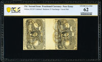 Milton 2E25F UNL 25¢ Second Issue Experimental Skeleton 25 Surcharge Pair PCGS Banknote Uncirculated 62, cancellati...