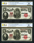 """Reverse Changeover Pair Fr. 92/91 $5 1907 """"PCBLIC"""" Engraving Error Legal Tenders PCGS Banknote Extremely Fine..."""