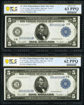 Large Size:Federal Reserve Notes, Changeover Pair Fr. 851a/851b $5 1914 Federal Reserve Notes PCGS Banknote Choice Unc 63 PPQ; Unc 62 PPQ.. ... (Total: 2 notes)