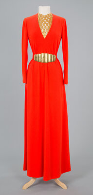 A Pauline Trigere Red Crepe Full Length Crown with Gold Bib Necklace Size: 4-6