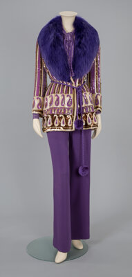 A Valentino Purple Fur, Sequined, and Silk Pantsuit Labels: VALENTINO Size: 4-6
