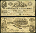 Confederate Notes:1862 Issues, T42 $2 1862 PF-3 Cr. 336 Fine;. T44 $1 1862 PF-2 Cr. 340 Fine.. ... (Total: 2 notes)