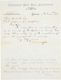Baseball Collectibles:Others, 1879 Cincinnati Reds Letter of Resignation from National League....