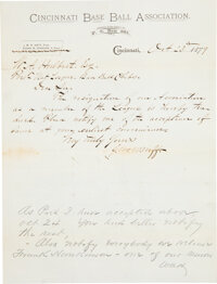 1879 Cincinnati Reds Letter of Resignation from National League