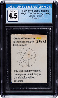 Magic: The Gathering Circle of Protection From Black Magick Gamma Playtest Edition (Magic: The Gathering, 1992) CGC VG/E...