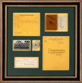 Football Collectibles:Others, 1929 Green Bay Packers Championship Celluloid Mirror, Rule Book, Ticket Form & Ticket Drive Letter Display from The Glen Chris...