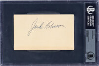 1950's Jackie Robinson Signed Government Postcard, Beckett Authentic