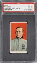 Baseball Cards:Singles (Pre-1930), 1909-11 T206 Sweet Caporal 350/25 Ty Cobb (Portrait-Red) PSA EX 5....