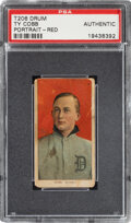 Baseball Cards:Singles (Pre-1930), 1909-11 T206 Drum Ty Cobb (Portrait-Red) PSA Authentic - One of Only Two PSA-Graded Examples. ...