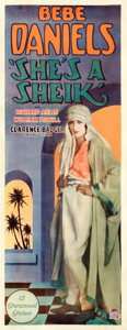 """Movie Posters:Adventure, She's a Sheik (Paramount, 1927). Fine/Very Fine on Paper. Insert (14"""" X 36.25"""").. ..."""
