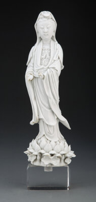 A Chinese Blanc-de-Chine Guanyin 13-1/2 x 5 inches (34.3 x 12.7 cm) (without stand)