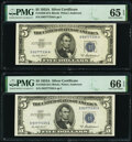 Small Size:Silver Certificates, Fr. 1656 $5 1953A Silver Certificate. PMG Gem Uncirculated 66 EPQ; Gem Uncirculated 65 EPQ;. Fr. 1656* $5 1953A Silver Cer... (Total: 3 notes)