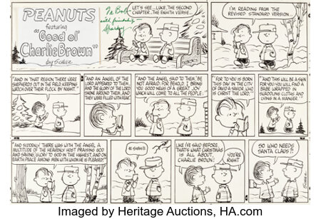 Charles Schulz Peanuts Sunday Comic Strip Charlie Brown and Linus Christmas Original Art dated 12-18-66 (United Fe...