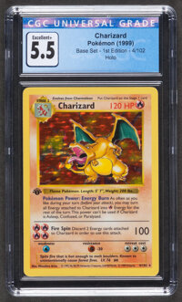 Pokémon Charizard #4 First Edition Base Set Trading Card (Wizards of the Coast, 1999) CGC Excellent+ 5.5