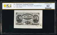 Fr. 1274SP 15¢ Third Issue Wide Margin Face PCGS Banknote Uncirculated 62
