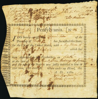 Pennsylvania Interest Bearing Appraisal Certificate £15 Specie August 18, 1780 Anderson PA-2 Very Fine