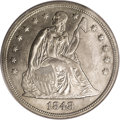 Seated Dollars: , 1848 $1 MS62 PCGS. Ex: Sterling Collection. Only 15,000 businessstrike dollars were struck i...
