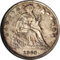 Seated Half Dimes: , 1860 H10C Transitional MS64 NGC. Judd-267, Pollock-315, R.4. Awell-known and popular muling of the Type of 1859 obverse an...