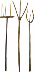 "Movie/TV Memorabilia:Props, Lot of Three Medieval Style Pitchforks from ""Van Helsing."" In thegrand tradition of classic horror weaponry, these three wo...(Total: 3 )"