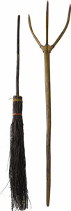 "Movie/TV Memorabilia:Props, Prop Broom and Pitchfork From ""Van Helsing."" An old-world styletwig broom and wooden pitchfork used as props in the 2004 ac..."
