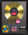"Music Memorabilia:Awards, Metallica ""Master of Puppets"" RIAA Gold Album Award. Presented toMetallica by the RIAA to commemorate the sale of 500,000 c..."