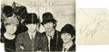 """Music Memorabilia:Autographs and Signed Items, Beatles Autographs Set (1964). Includes a clipped b&w photofrom an issue of Beatles Monthly (6"""" x 4.5"""") signed by John,..."""