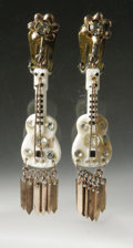 Music Memorabilia:Props, Guitar Earrings From Gene Vincent to Darlene Lund. A pair ofrhinestone- and bangle-studded guitar-shaped earrings, given by...