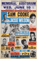 Music Memorabilia:Posters, Sam Cooke/Jackie Wilson Revue Show Poster (1959) The Memorial Auditorium in Chattanooga, Tennessee played host to this bevy ...