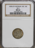 Bust Dimes: , 1830/29 10C MS62 NGC. JR-5, R.2. Rich golden-brown, steel-gray, andlemon-lime patination embraces this reasonably struck t...