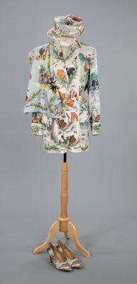 A Hermès Kentucky Derby Themed Ensemble Including Jacket, Hat, Short-Sleeved Blouse, Scarf, and Pumps Labels: HER...