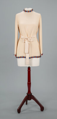 Two Designer Stone-Mounted Tunics Attributed to James Galanos per Phyllis McGuire Size: 4-6