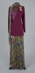Textiles, A James Galanos Purple and Green Wool Silk Pantsui with Two Brooches. Size: 4-6. ...
