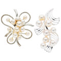 Estate Jewelry:Brooches - Pins, Mikimoto Cultured Pearl, White Gold, Sterling Silver Brooches. ... (Total: 2 Items)