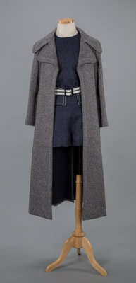 A James Galanos Navy Set Including Hotpants, Top, and Long Coat Label to coat: GALANOS for Amelia Gray, Beverly Hills...