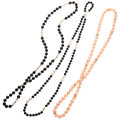 Estate Jewelry:Necklaces, Coral, Onyx, Cultured Pearl, Gold Necklaces St...