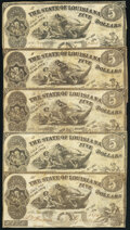 Baton Rouge, LA- State of Louisiana $5 Oct. 10, 1862 Cr. 10 Five Examples Fine. ... (Total: 5 notes)