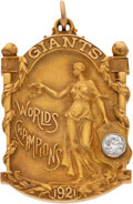 Baseball Collectibles:Others, 1921 New York Giants World Series Championship Pendant Presented to Johnny Evers....