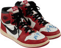 Basketball Collectibles:Others, 1985 Michael Jordan Game Worn & Double-Signed Air Jordan 1 Rookie Sneakers with Extraordinary Provenance....