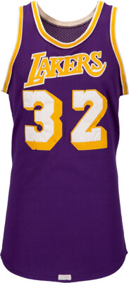 """1980 Earvin """"Magic"""" Johnson NBA Finals Clinching Game Six Worn & Signed Los Angeles Lakers Jersey with Mul..."""