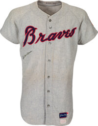 1970 Hank Aaron 3,000th Career Hit Game Worn & Signed Atlanta Braves Jersey, MEARS A10--Photo Matched!