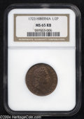 Colonials: , 1723 1/2P Hibernia Halfpenny MS65 Red and Brown NGC. No ...