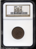 1853 1/2 C MS66 Brown NGC. B-1, C-1, R.1. A well struck and virtually undisturbed Gem. Golden-brown in color with hints...