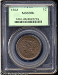 1852 1C MS66 Brown PCGS. N-14, R.1. The date is nicely repunched, with the prior punch visible above the 2 in the date a...